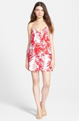 Plenty By Tracy Reese Swingy Print Romper Cherry White Tribal Foilage
