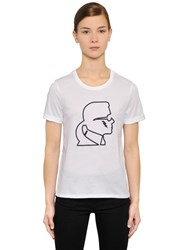 Karl Lagerfeld Profile Cotton Jersey T Shirt