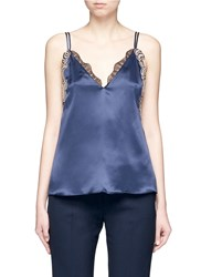 3.1 Phillip Lim Sequin Floral Lace Silk Camisole Top Blue