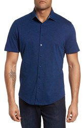 Stone Rose Slim Fit Flame Knit Sport Shirt Navy