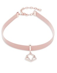 Design Lab Lord And Taylor Faux Leather Pendant Choker Necklace Pink