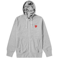 Comme Des Garcons Play Red Heart Full Zip Back Print Hoody Grey