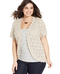 Style And Co. Plus Size Short Sleeve Crochet Cardigan Stonewall