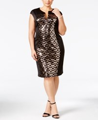 Connected Plus Size Sequined Panel Sheath Dress Gold