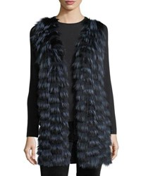Neiman Marcus Luxury Cashmere Vest W Fox Fur Front And Sequin Trim Back Navy Black