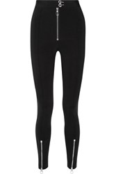 Versace Zip Embellished Stretch Cady Leggings Black