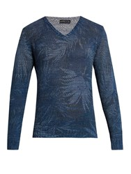 Etro Linen Blend Knit Sweater Navy