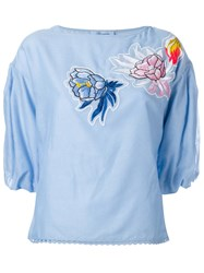 Blumarine Embroidered Patches Top Blue