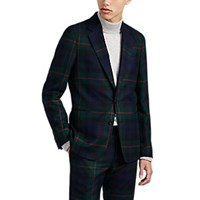 Paul Smith Soho Plaid Wool Two Button Sportcoat Navy