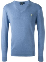 Polo Ralph Lauren Classic V Neck Sweater Blue