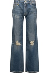 R 13 R13 The Jane Mid Rise Distressed Flared Jeans Mid Denim