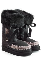 Mou Lace Front Sheepskin Boots With Fur Cuff Black