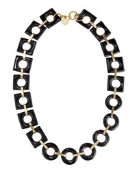 Ashley Pittman Mbele Geometric Dark Horn Link Necklace Brown
