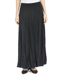 Joan Vass A Line Paneled Maxi Skirt Black