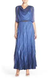 Black By Komarov Chiffon And Charmeuse Tiered Gown Fregatta Blue Ombre