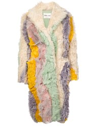 Sandy Liang Striped Shearling Coat Multicolour
