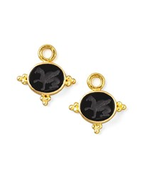 19K Gold Grifo Venetian Glass Earring Pendants Black Elizabeth Locke Gold Black