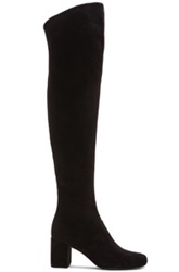 Saint Laurent Babies Leather Thigh High Boots In Black