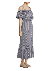 Mds Stripes Rebecca Ruffle Stripe Dress Navy