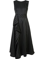 Carolina Herrera Asymmetric Pinstripe Dress Black