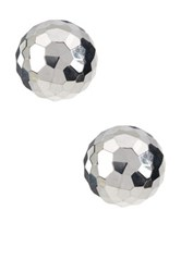 Candela Sterling Silver 9.5Mm Faceted Ball Stud Earrings With 14K Post Metallic