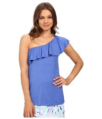 Lilly Pulitzer Neveah Top Iris Blue Women's Clothing Multi
