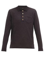 Dunhill Monogram Embroidered Wool Polo Shirt Dark Grey