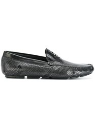 Roberto Cavalli Snakeskin Effect Loafers Calf Leather Leather Rubber Grey