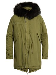 Mr And Mrs Italy Fur Trimmed Cotton Canvas Parka Green Multi