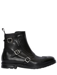 Alexander Mcqueen Wing Tip Leather Boots With Gaiter