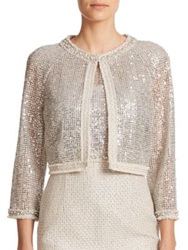 Kay Unger Sequined Lace And Tweed Cropped Jacket Silver Multi
