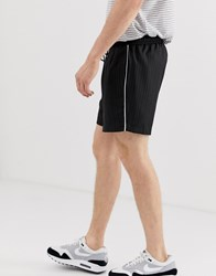 New Look Shorts In Black Pinstripe