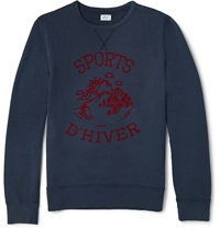 Hartford Printed Cotton Sweatshirt Blue