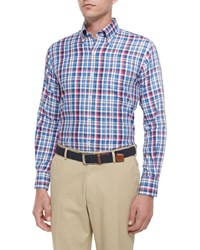 Peter Millar Multi Plaid Woven Sport Shirt Blue