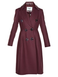 Fendi Double Breasted Coat Burgundy