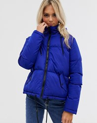Brave Soul Cello Hooded Puffer Jacket Blue