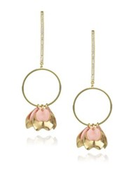 Danielle Nicole Blossom Petal Drop Earrings Pink Gold