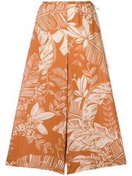 See By Chloe Foliage Print Cropped Wide Leg Trousers Yellow And Orange