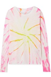 The Elder Statesman Cyclone Tie Dyed Cashmere And Silk Blend Sweater Pink