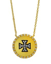 Freida Rothman Crystal Maltese Cross Shield Pendant Necklace Women's