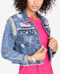 Rachel Roy Embellished Cropped Denim Jacket Created For Macy's Medium Wash