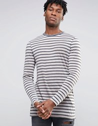 Asos Stripe Longline Long Sleeve T Shirt With Burnout White Black
