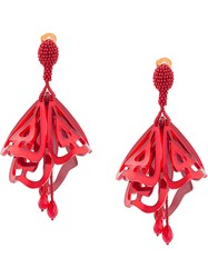 Oscar De La Renta Impatiens Large Clip On Earrings Red