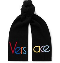 Versace Logo Embroidered Ribbed Wool Scarf Black