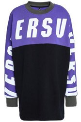 Versus By Versace Color Block Printed French Cotton Terry Sweatshirt Violet