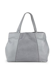 Halston Leather And Suede Tote Slate Grey