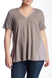 Heather By Bordeaux Gauze Panel V Neck Tee Plus Size Gray