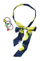 Berry Lemon Skinny Head Scarf And Hair Tie Set Multi