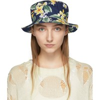 R 13 R13 Navy Balinese Flowers Bucket Hat