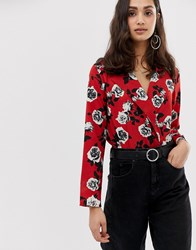 Parisian Floral Wrap Front Body Red